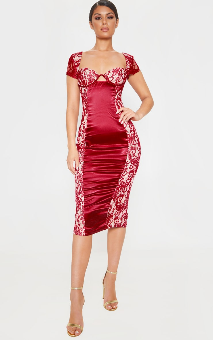 Burgundy Lace Cap Sleeve Cup Detail Midi Dress