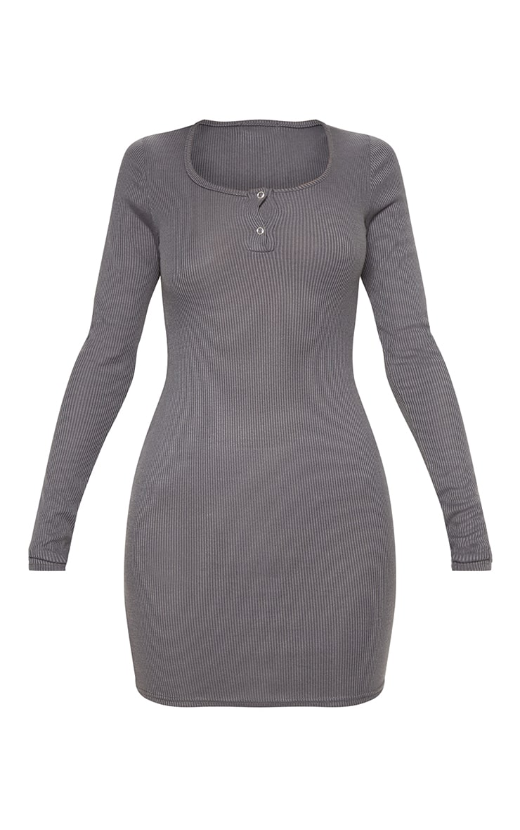 Charcoal Popper Detail Plunge Bodycon Dress 3