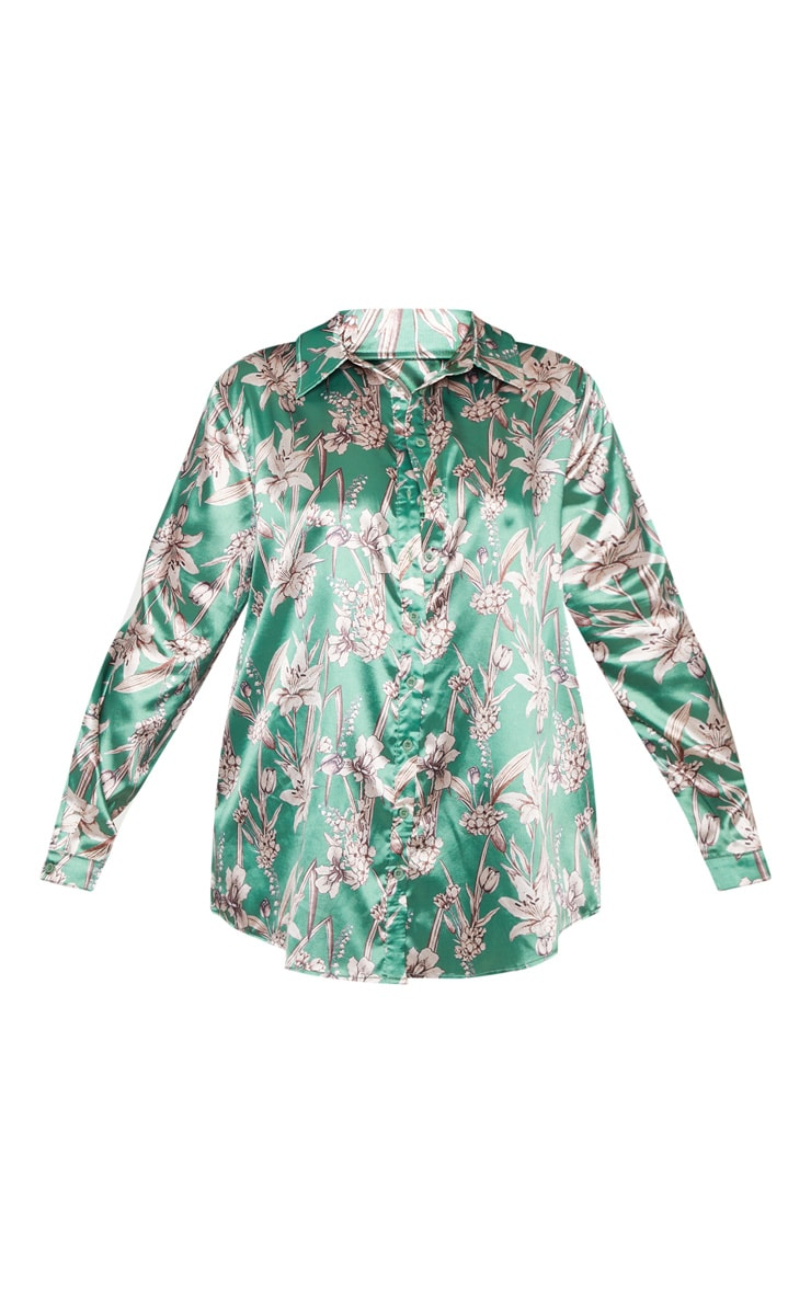 Plus Green Satin Floral Oversized Shirt  3