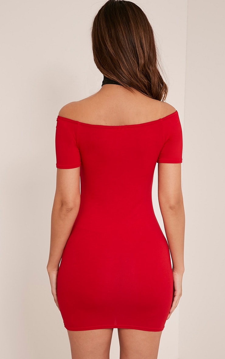 Basic Red Short Sleeve Bardot Bodycon Dress 2