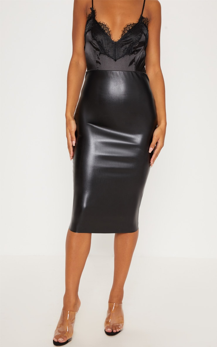 Basic Black Faux Leather Midi Skirt 2
