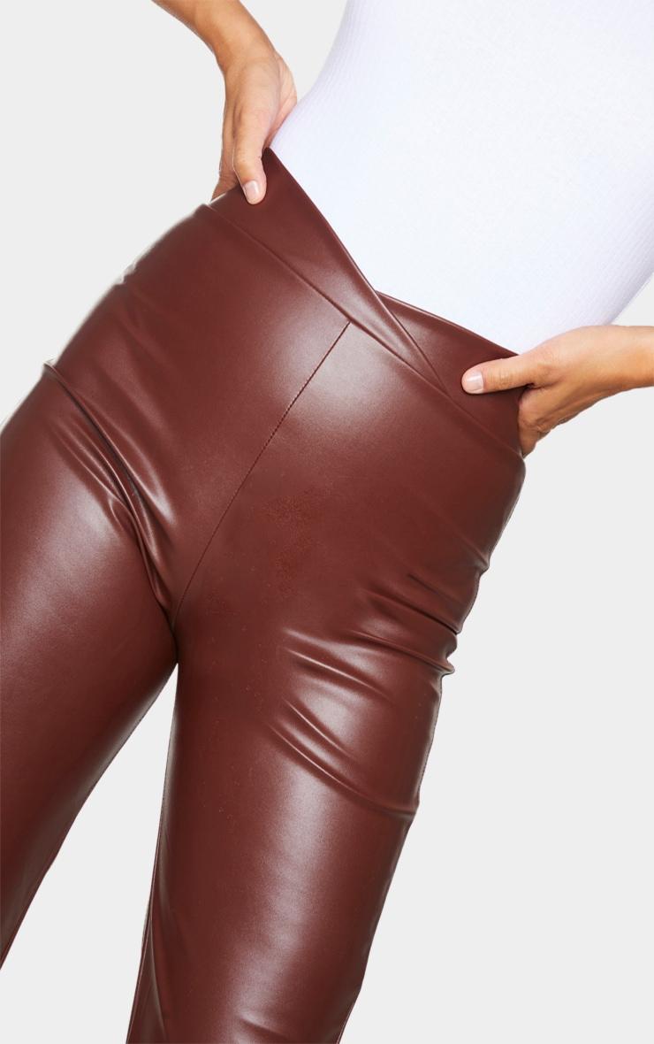 Chocolate Dip Waist Straight Leg Faux Leather Pants 4