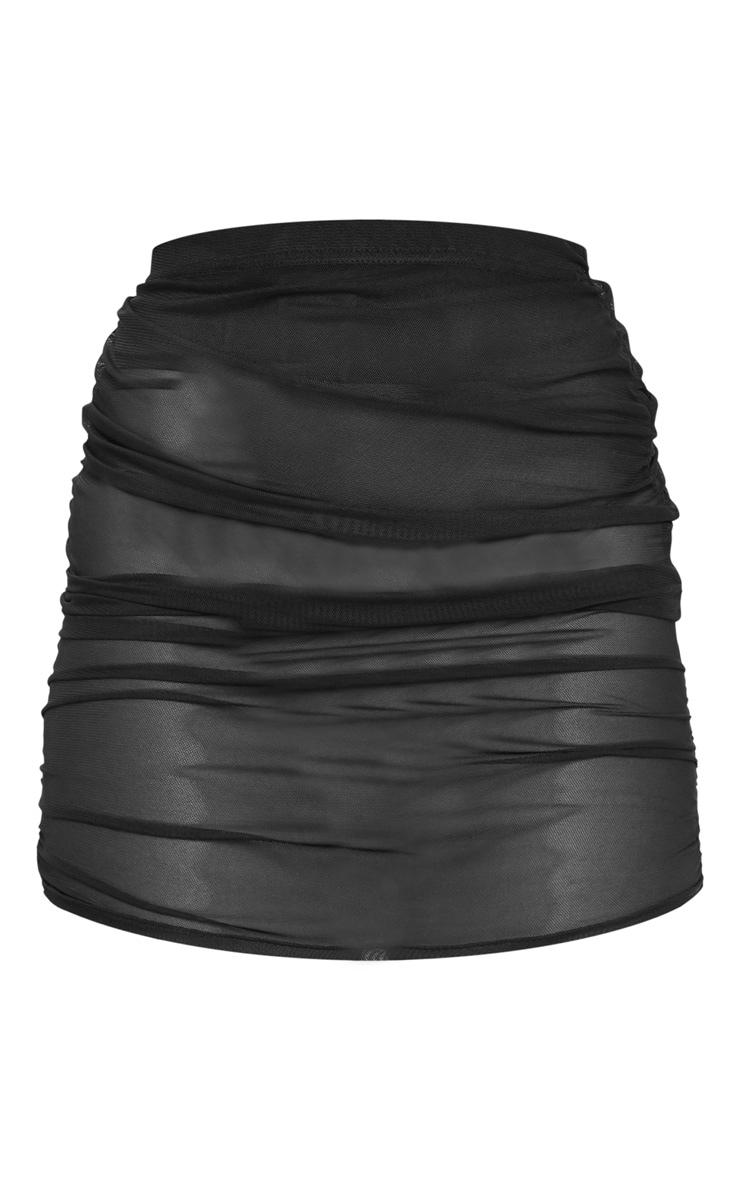 Black Mesh Ruched Mini Skirt 3