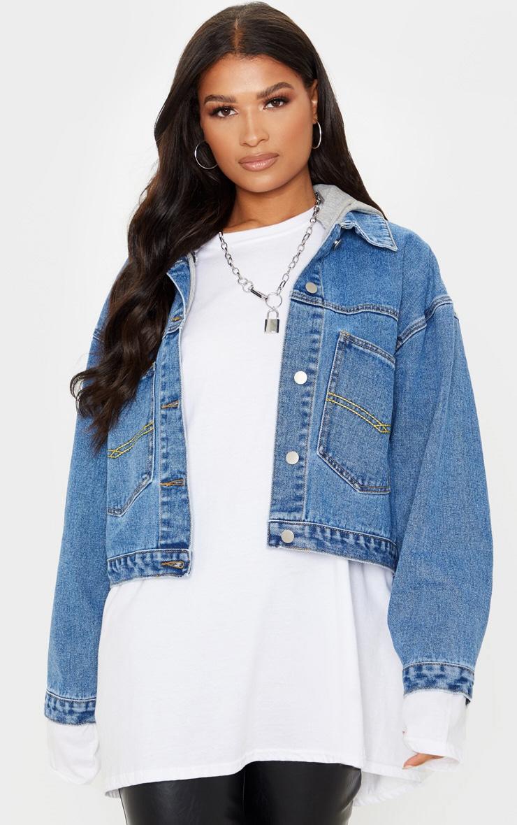 Veste en jean oversize bleu moyennement délavé à capuche 4