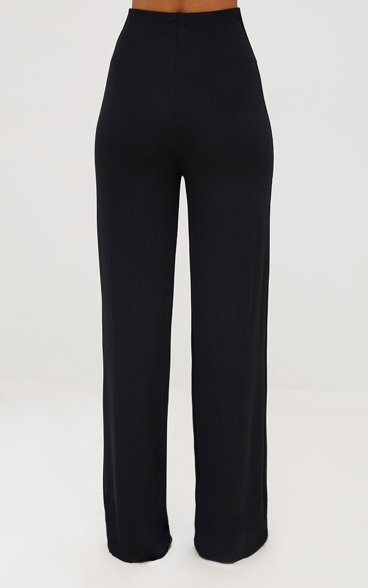 Black High Waisted Wide Leg Trousers  5