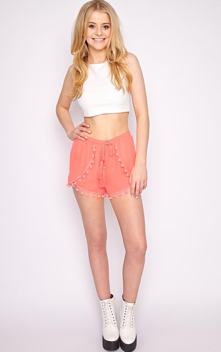 Sofia Neon Coral Pom Pom Boxer Short 1