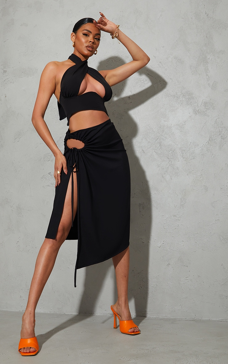 Black Woven Ruched Cut Out Detailing Midi Skirt 1
