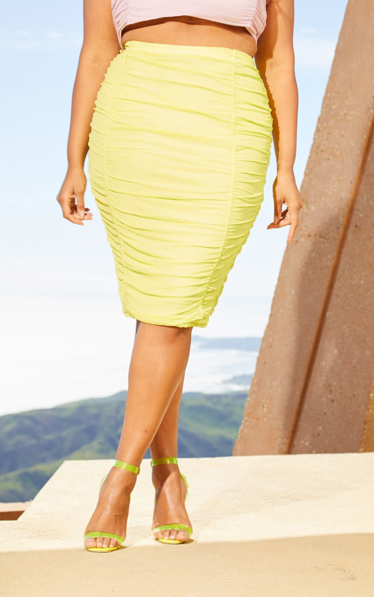 Plus Lime Second Skin Ruched Mesh Midi Skirt 2
