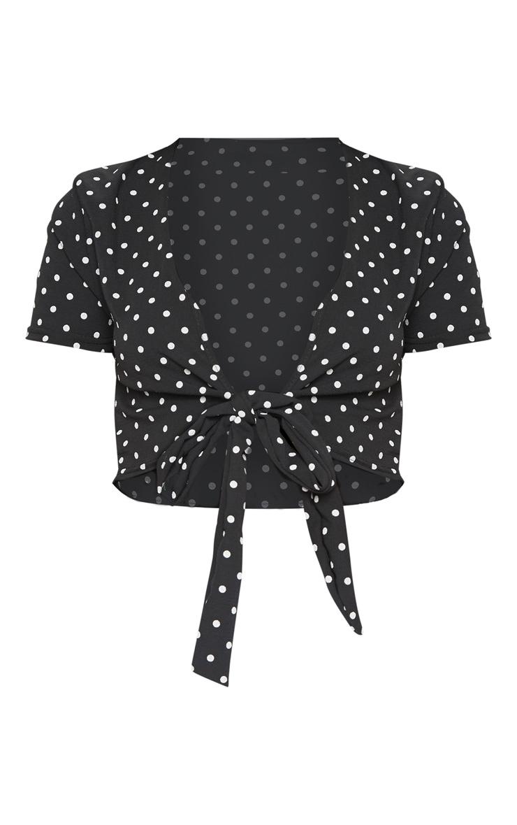 Black Polka Dot Chiffon Tie Front Blouse 3