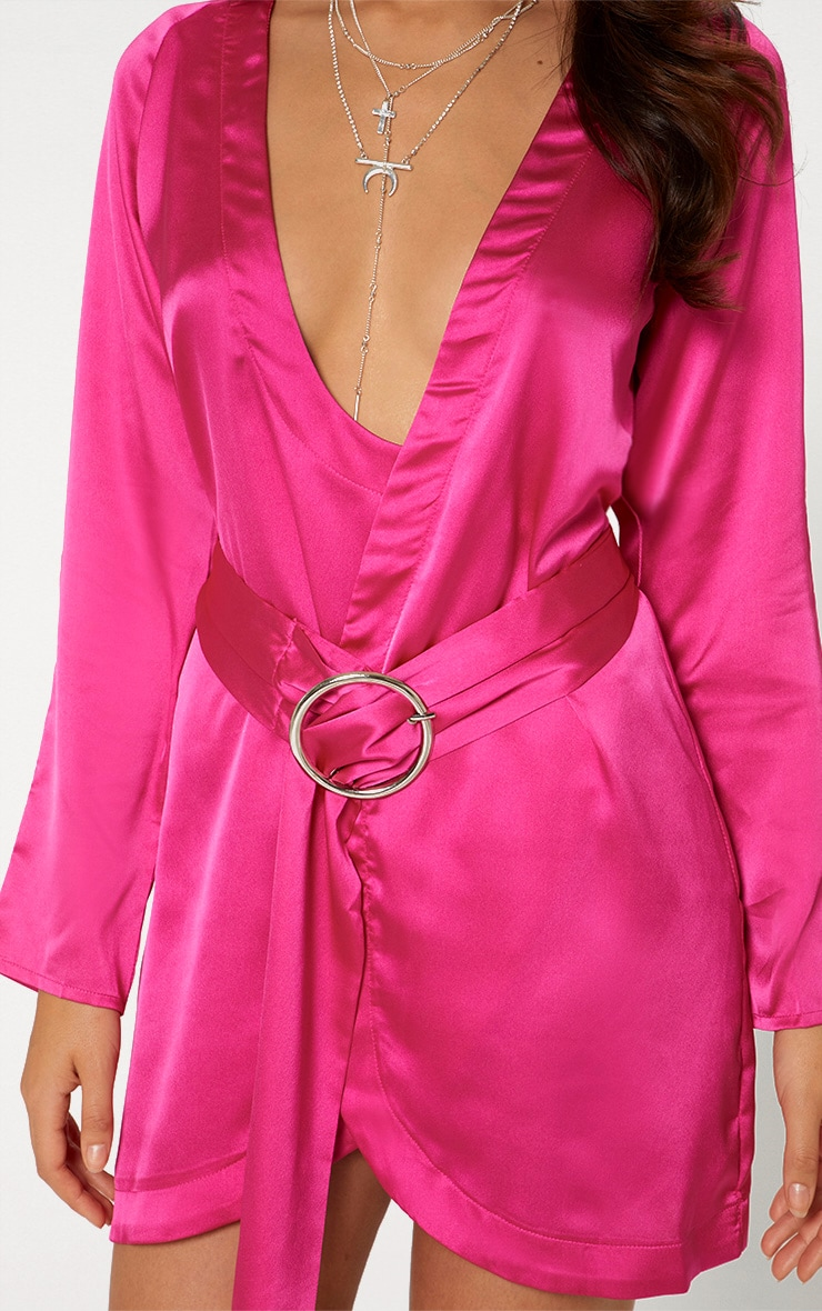 Fuchsia Pink Satin Belted Shirt Dress 4