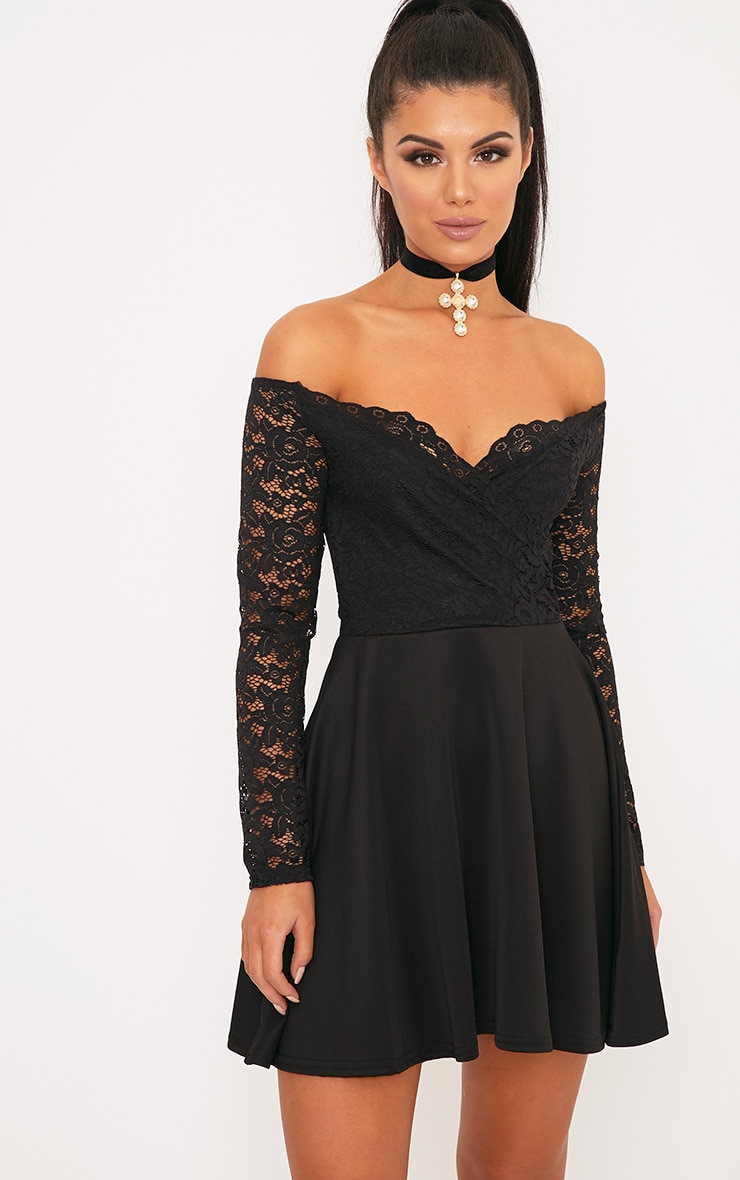 761883d1eb Luciel Black Lace Sleeve Bardot Skater Dress image 1