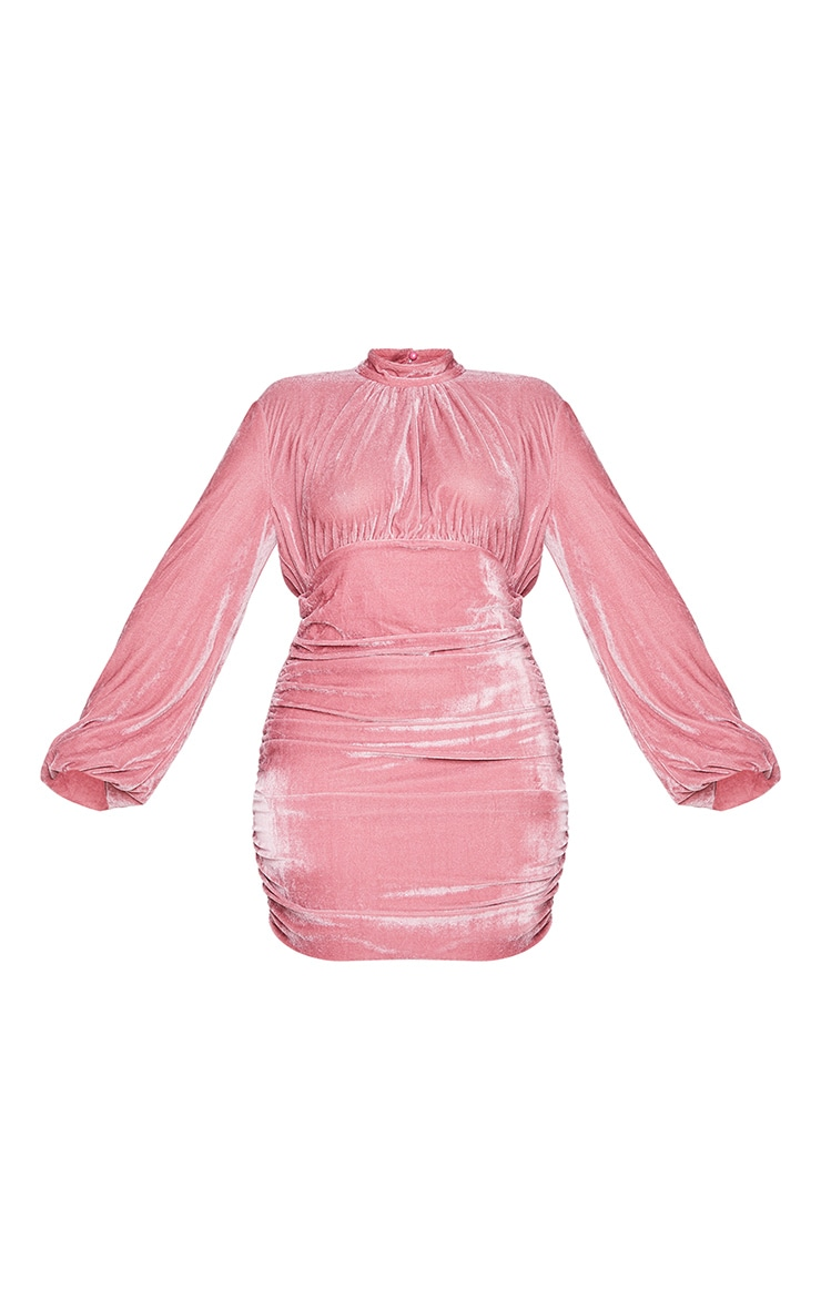 Plus Dusty Pink Velvet High Neck Ruched Balloon Sleeve Bodycon Dress 5
