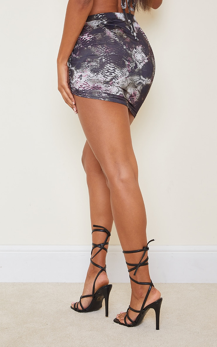 Black Print Slinky Ruched Side Mini Skirt 3