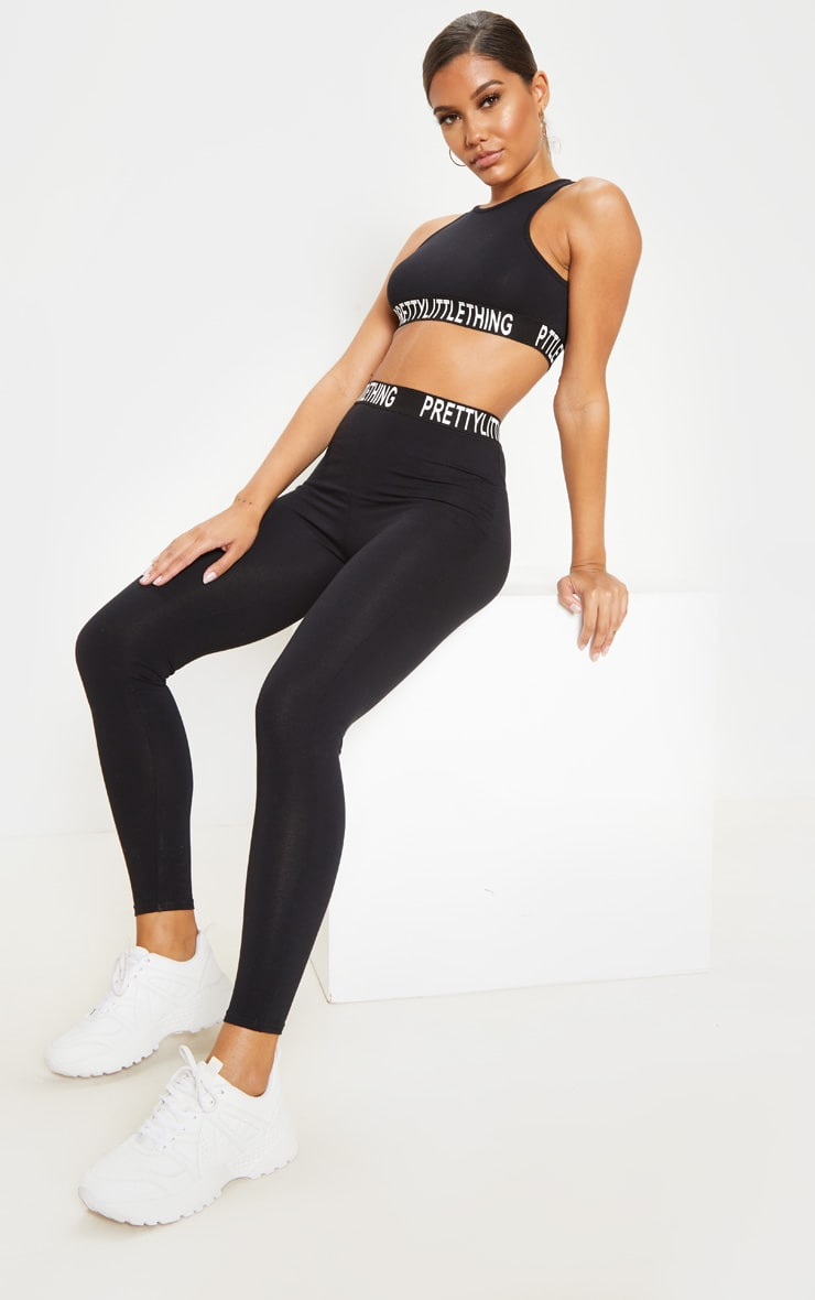 PRETTYLITTLETHING Black Racer Neck Sleeveless Crop Top 4