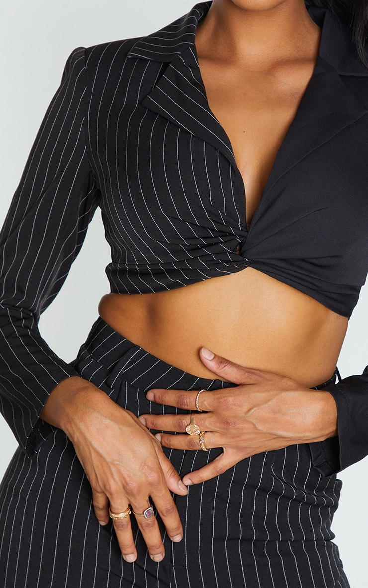 Black Woven Twist Front Pinstripe Detail Cropped Blouse 4