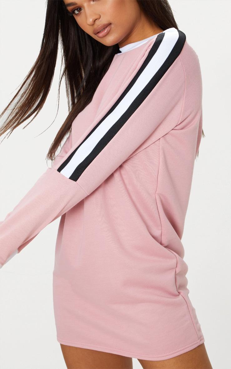 Pale Pink Sport Stripe Long Sleeve Jumper Dress 5