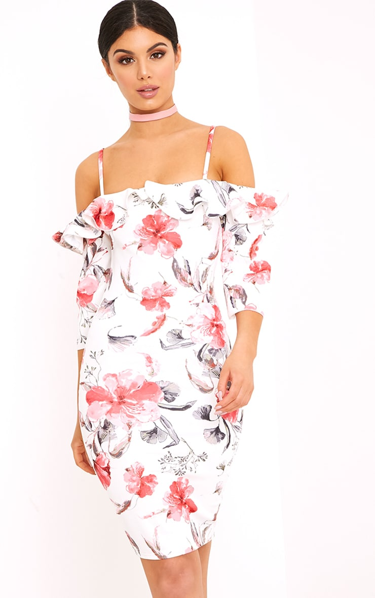 White Floral Cold Shoulder Bodycon Dress 1