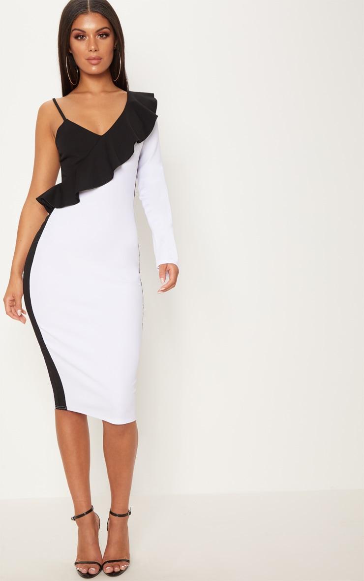 White One Shoulder Frill Detail Colour Block Midi Dress 1