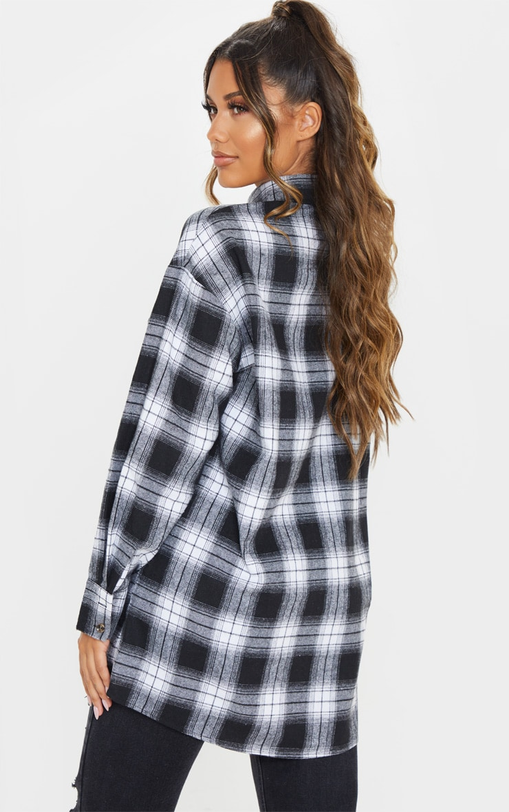 Black Checked Oversized Pocket Detail Shirt 2