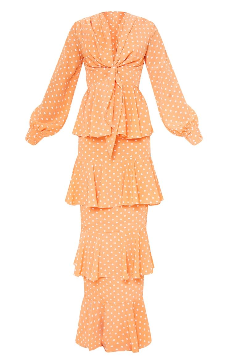 Peach Polka Dot Tiered Frill Long Sleeve Maxi Dress 5