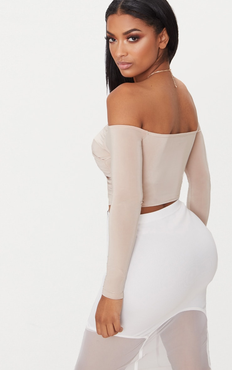 Shape Nude Slinky Bardot Crop Top 2