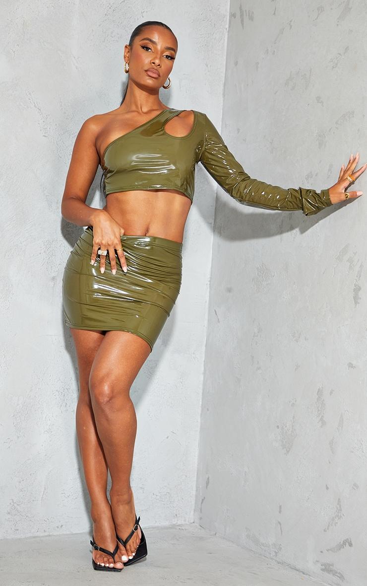 Olive Vinyl Split Side Mini Skirt 1