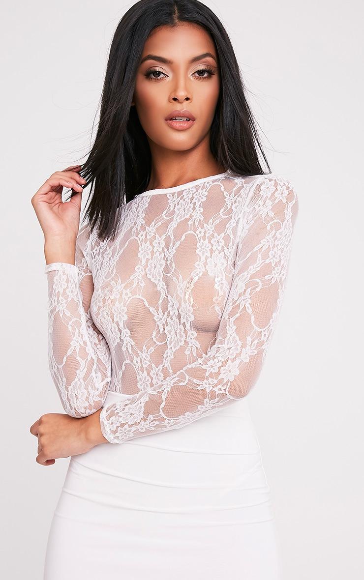 Blaeke White Lace Longsleeve Thong Bodysuit 1