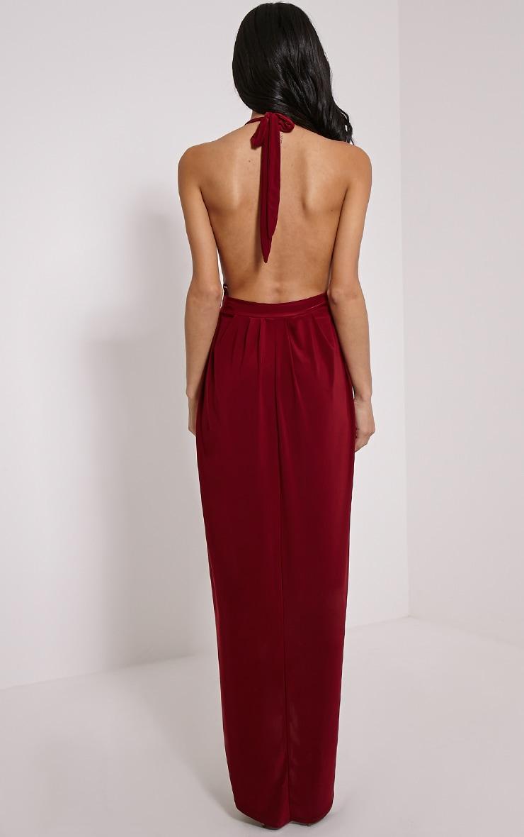Biba Burgundy Halterneck Maxi Dress 2