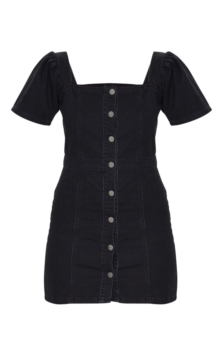 Washed Black Button Through Denim Dress 5