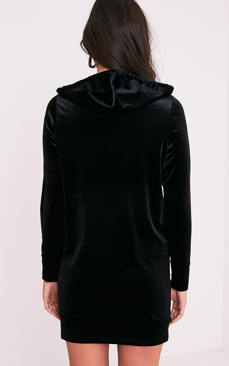 Harmanie Black Velvet Hooded Dress 2