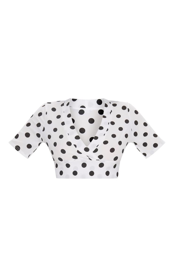 White Polka Dot Tie Back Crop Short Sleeve Blouse  3