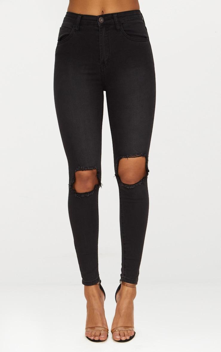 Jean skinny noir délavé ouvert au genou avec 5 poches 6