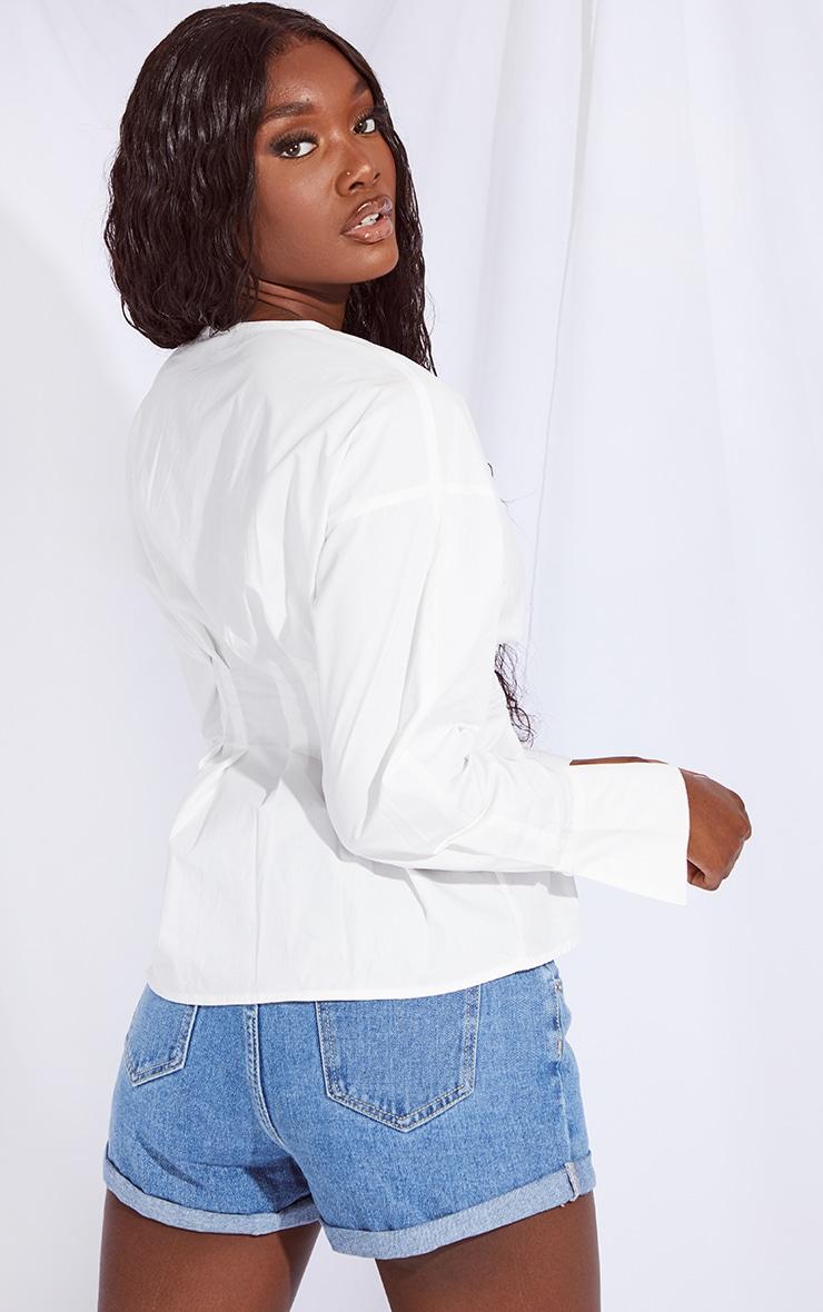 Tall White Corset Detail Shirt 2