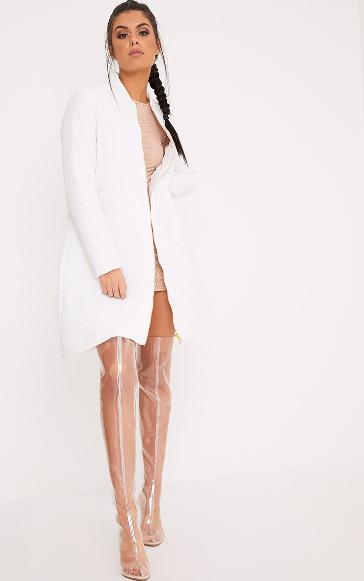 Jojena White Longline Puffer Coat 4