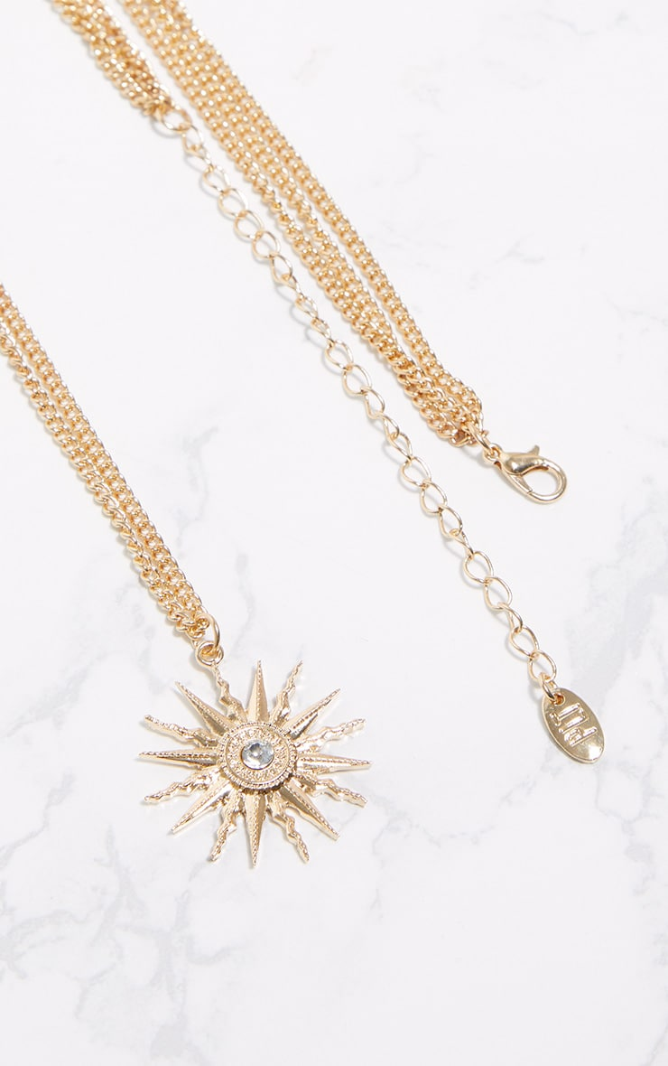 Gold Sundial Long Thin Chain Necklace 3