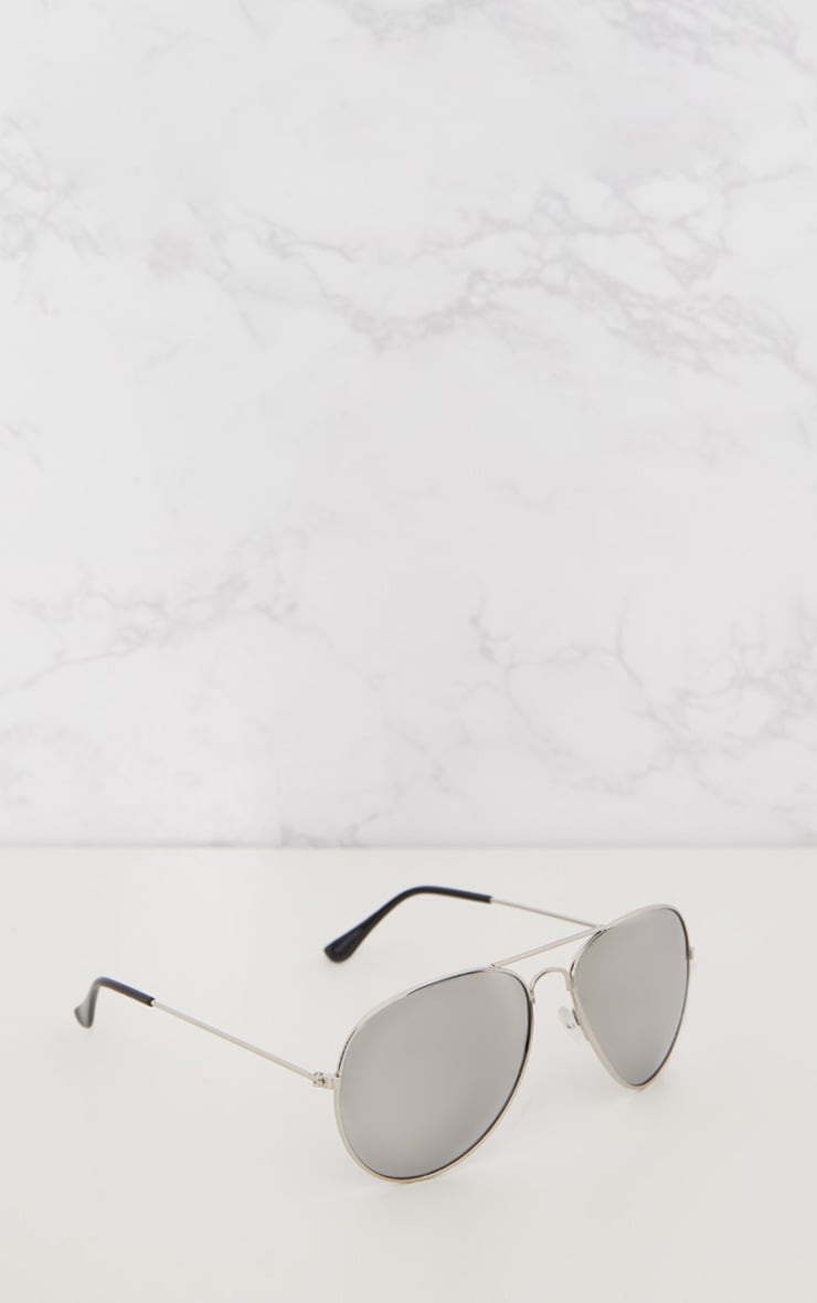 Quin Silver Mirrored Aviator Sunglasses 2