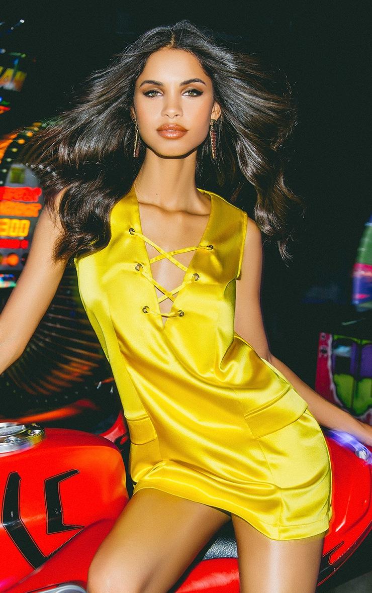 Elliya Yellow Lace Up Shift Dress 2