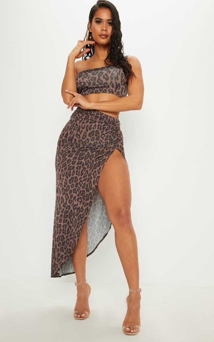 Brown Leopard Print Ruched Side Split Maxi Skirt 1