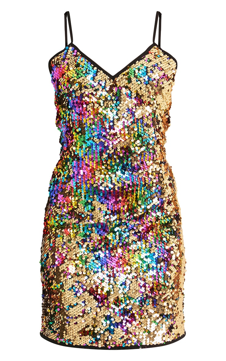 Kamillia Multi Rainbow Sequin Plunge Bodycon Dress 3