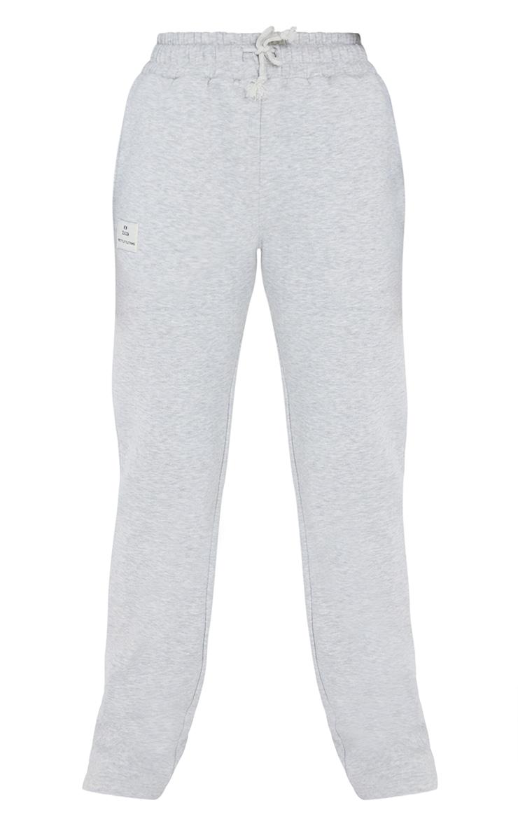 PRETTYLITTLETHING - Jogging droit gris à badge slogan 5