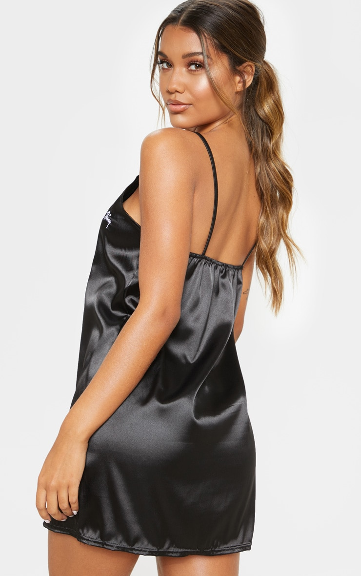 PRETTYLITTLETHING Black Satin Embroidered Nightie 2