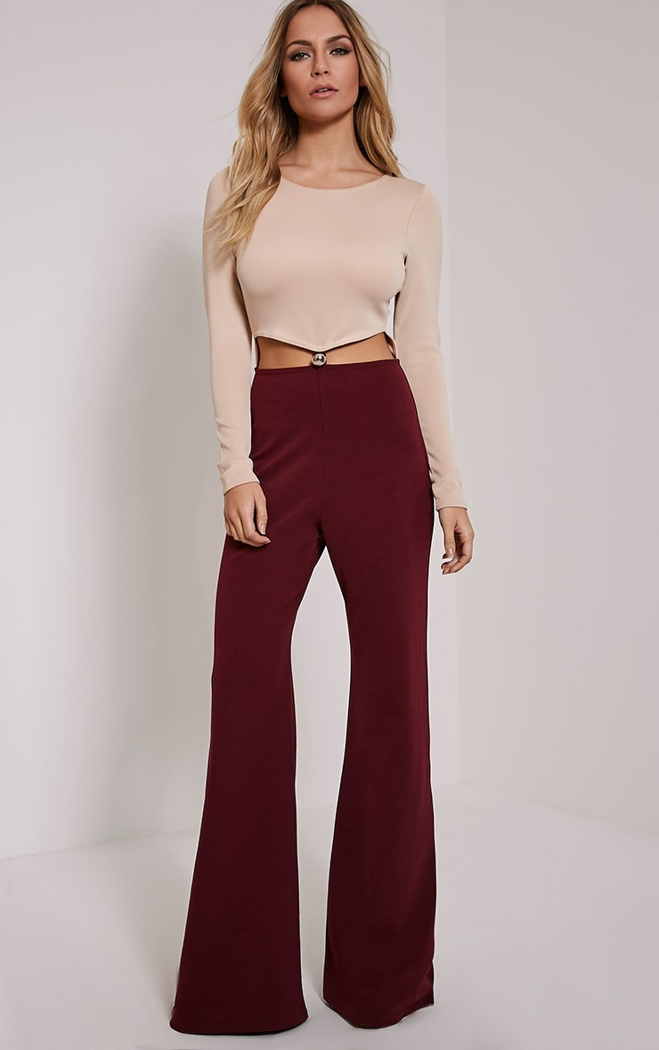 Lucie Burgundy Colour Block Cut Out Jumpsuit 1