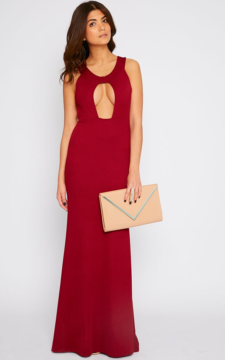 Brandy Red Plunge Maxi Dress 1
