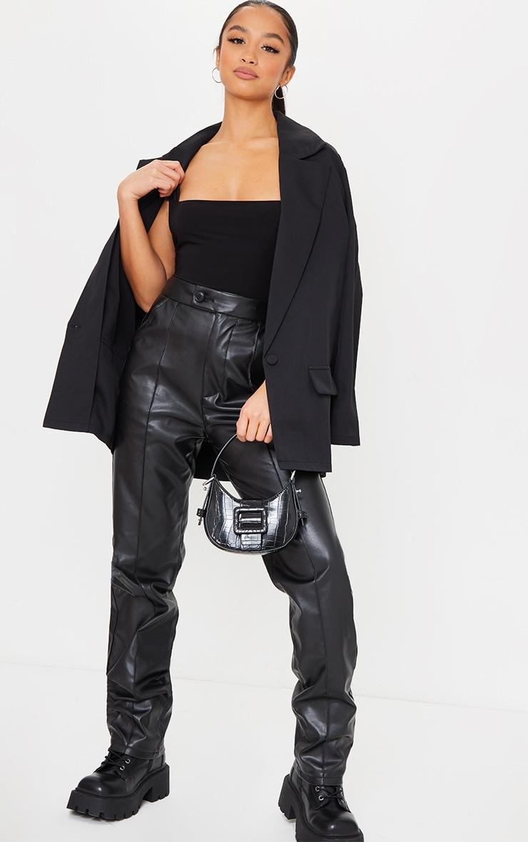 Petite Black Second Skin Square Neck Sleeveless Thong Bodysuit 3