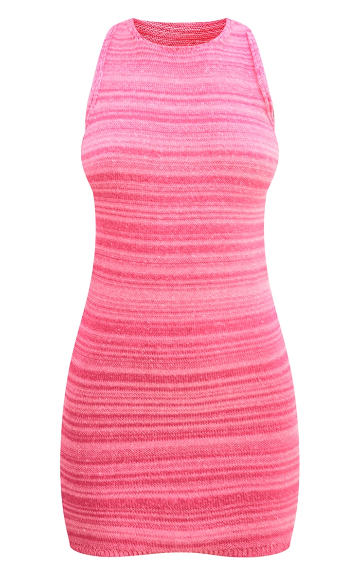 Pink Knitted Two Tone Racer Neck Mini Dress 5
