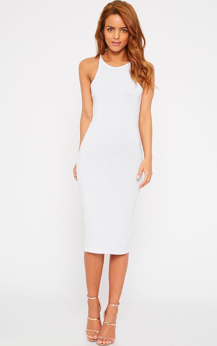 Natasha White Thin Strap Racer Neck Jersey Midi Dress 4