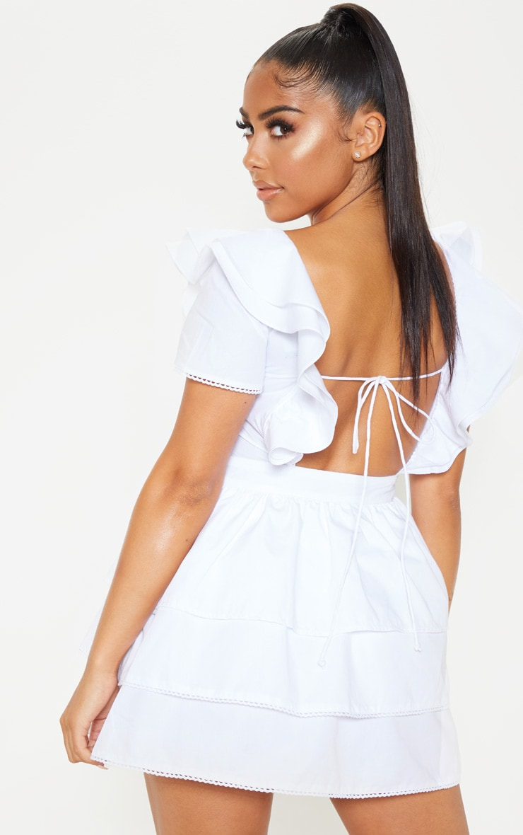 Petite White Square Neck Tiered Frill Dress 2