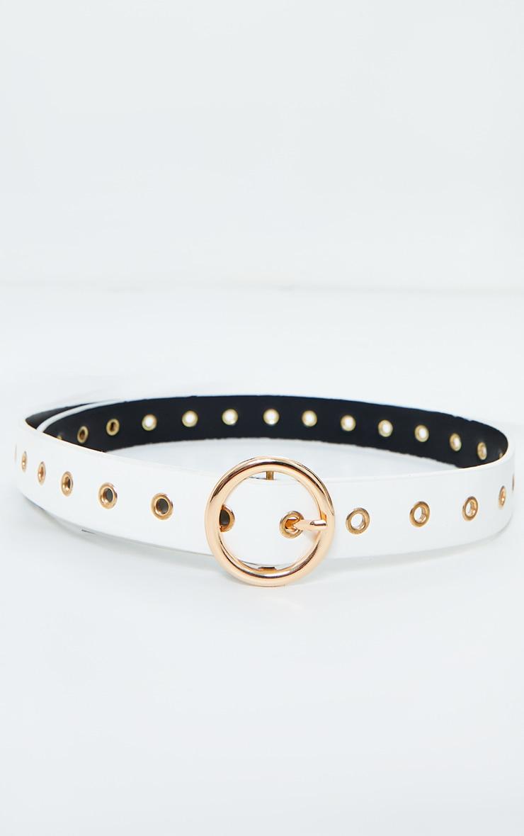 Gold Ring And Eyelet White Waist Belt 1