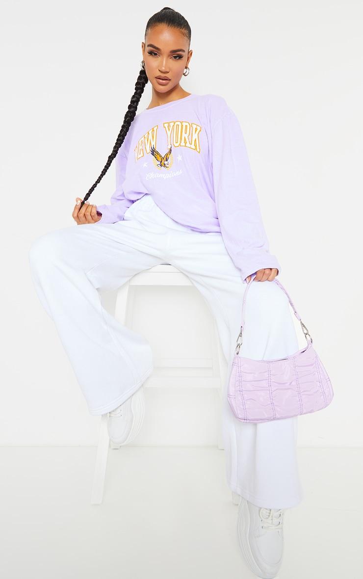 Purple New York Champion Washed Long Sleeve T Shirt 3