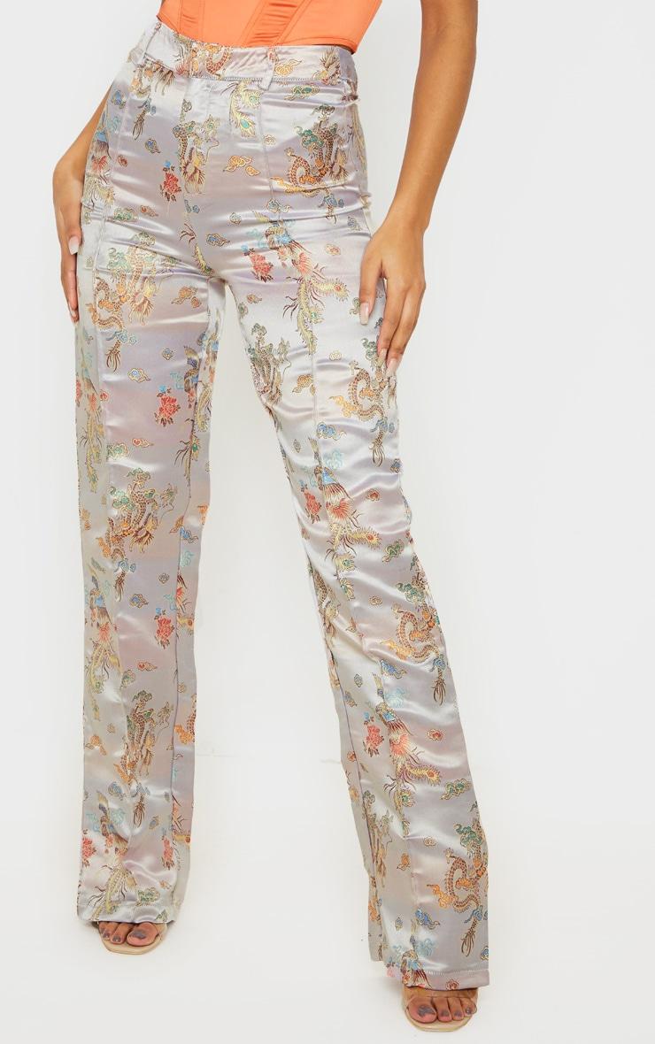 Stone Jacquard Embroidered Straight Leg Pants 2